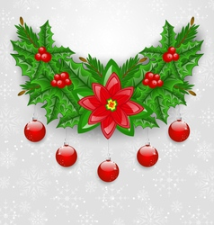 Christmas adornment with balls holly berry pine vector image