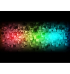 Colorful tech squares on black background vector image