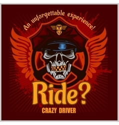 Crazy driver - skull and taxi print for t vector