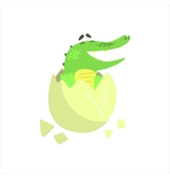 Crocodile baby hatching from egg humanized green vector