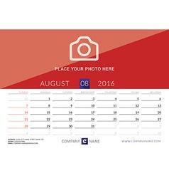 Desk calendar 2016 print template august week vector