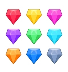 Diamond crystal gems isolated on white cartoon vector image