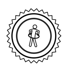 emblem person do exercise gym vector image vector image