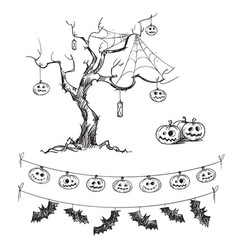 halloween drawings vector image vector image