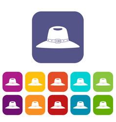 Hat icons set flat vector