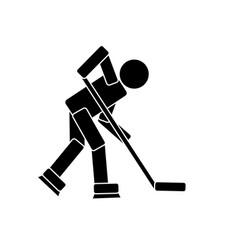Hockey player pictogram vector