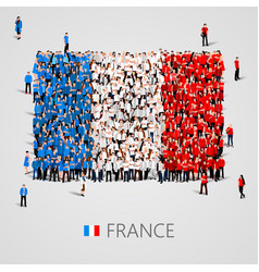 large group of people in the france flag shape vector image