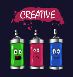 logo sprays with pink green blue paint vector image vector image