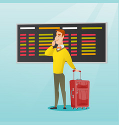 Man looking at departure board at the airport vector