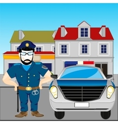 Man police and machine vector