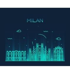 Milan skyline trendy linear vector