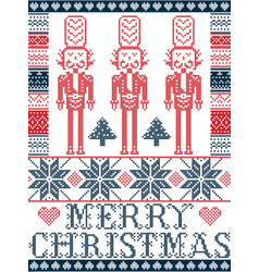 Nordic merry christmas pattern with nutcracker vector