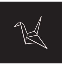 Origami bird sketch icon vector image vector image
