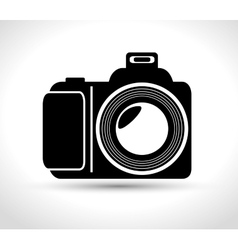 Professional photo camera with flash white vector