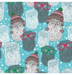 Seamless pattern with hipster polar owls vector