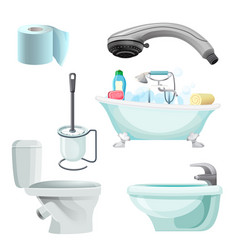 set of bathroom equipment realistic vector image