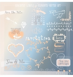 Set of Wedding or Valentines Design Elements vector image vector image