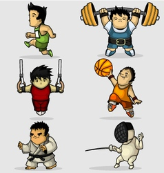 Six characters engaged in various sports vector