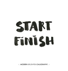 Start and finish words painted with brush in vector