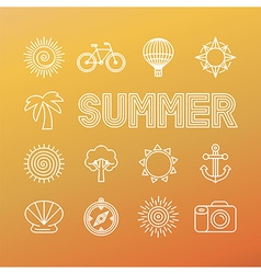 summer banner and background in trendy linear vector image vector image
