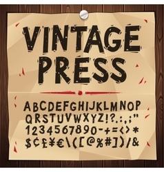 Vintage press font vector
