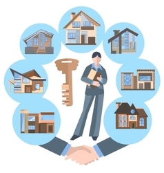 Woman real estate agent building key house vector