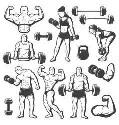 Vintage body building icon set vector