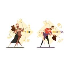 Dancing Pairs 2 Retro Cartoon Templates vector image