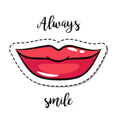 Fashion patch element smiling lips vector