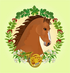 Chestnut horse head of stallion vector