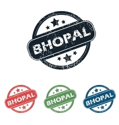 Round bhopal city stamp set vector