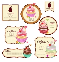 Set of labels with sweets a sticker for vector