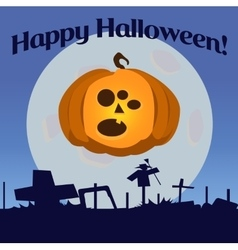 Halloween pumpkin with three eyes vector