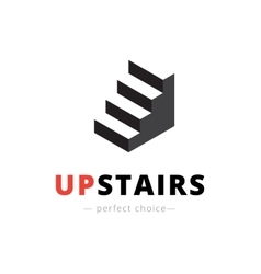 Isometric stairs logo brand sign vector
