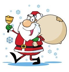 Santa waving a bell and walking with his toy sack vector