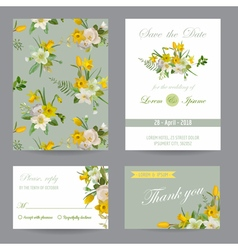 Wedding invitation congratulation card set vector