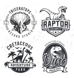 Set of dino logos raptor t-shirt vector