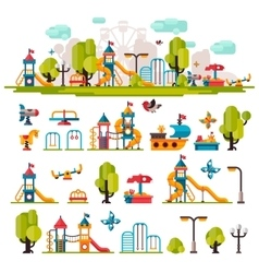 Childrens Playground drawn in a flat style vector image