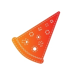 Pizza simple sign orange applique isolated vector