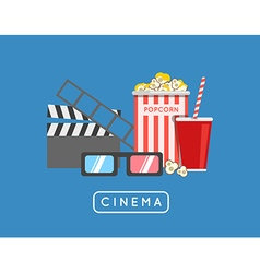 Going to the movies banner with icons vector