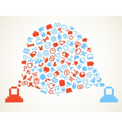 Speech cloud and account icons vector image