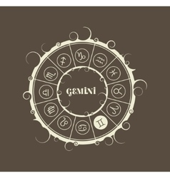 Astrology symbols in circle twins sign vector