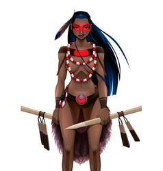 Beautiful amazon warrior vector
