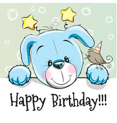Birthday card with puppy vector