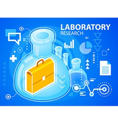 Bright laboratory research of work suitcase vector