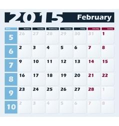 Calendar 2015 February design template vector image