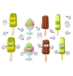 Cartoon ice cream bar sundae and popsicles vector