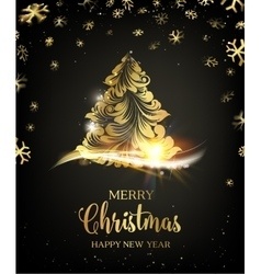 Christmas tree with sparks vector image vector image