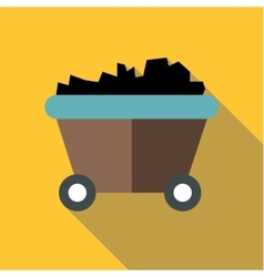 Coal or mine trolley icon flat style vector