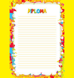 colorful template for diploma vector image